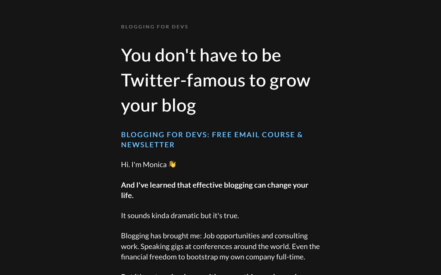 Blogging for Devs homepage