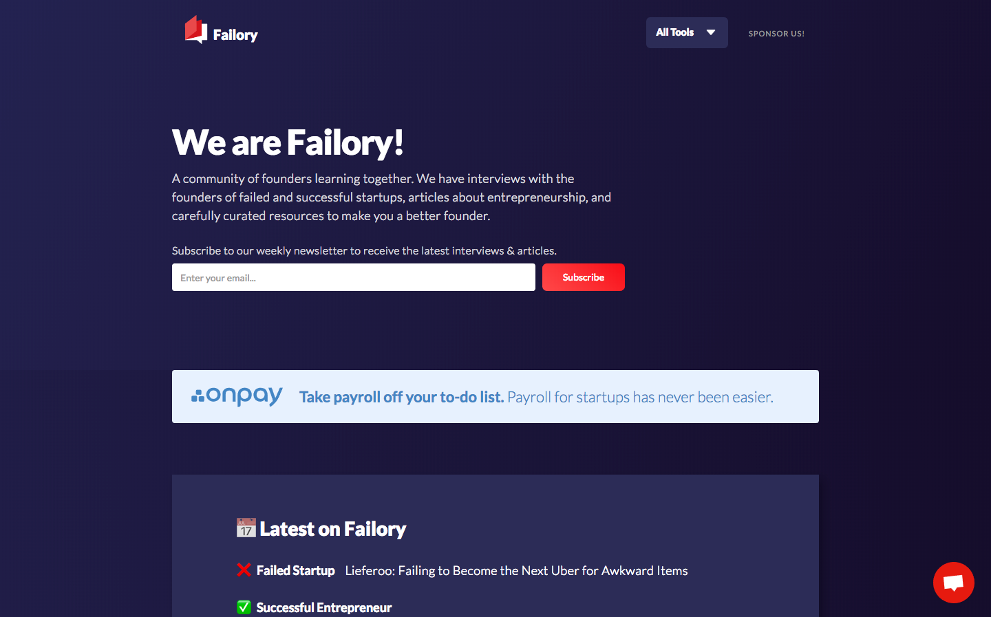 Failory homepage