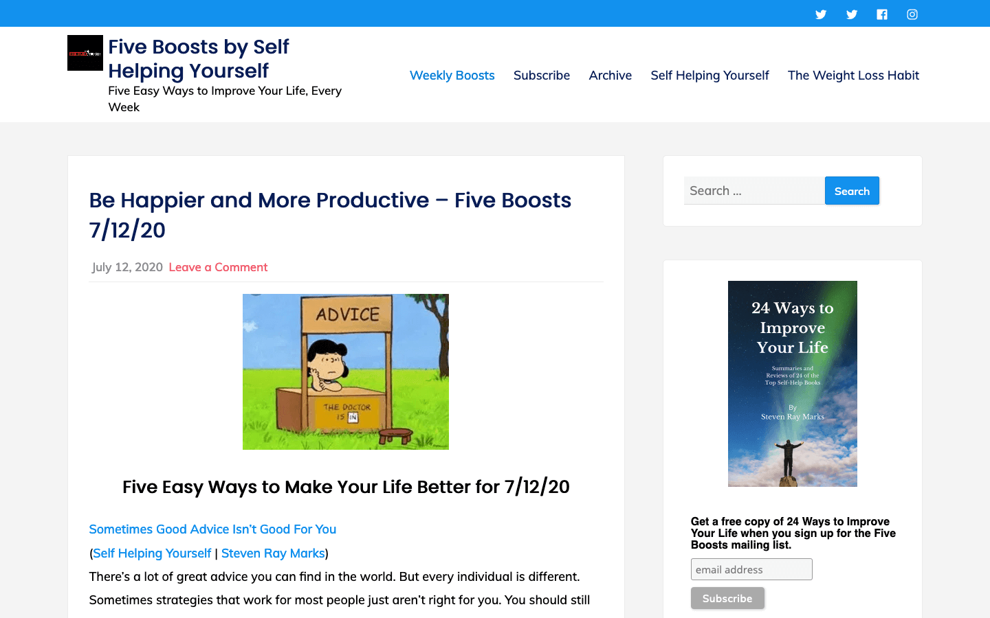 Five Boosts by Self Helping Yourself homepage