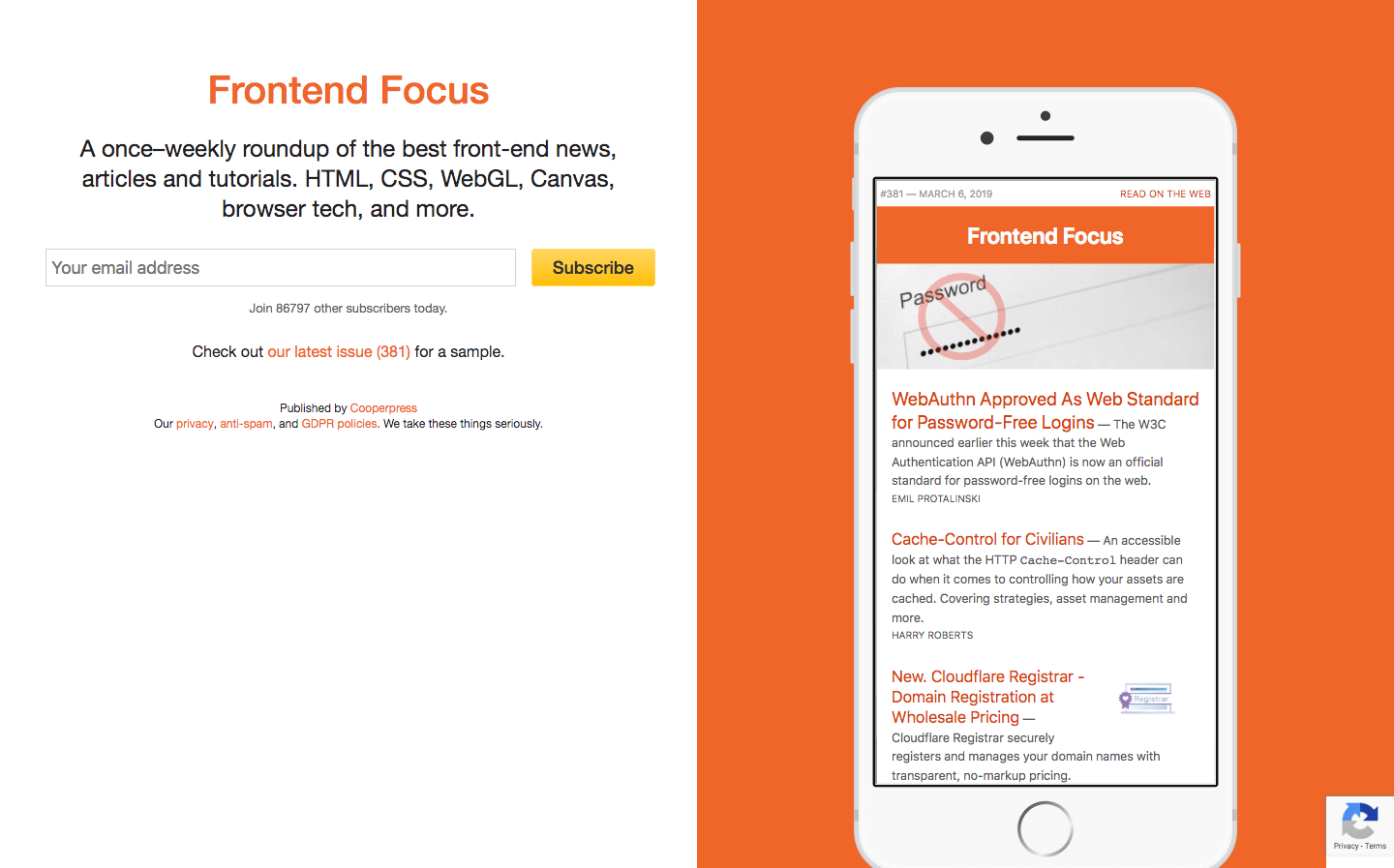 Frontend Focus homepage
