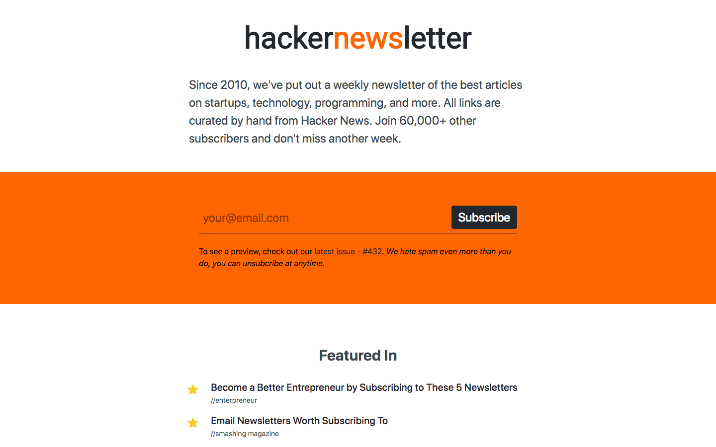 hackernews homepage