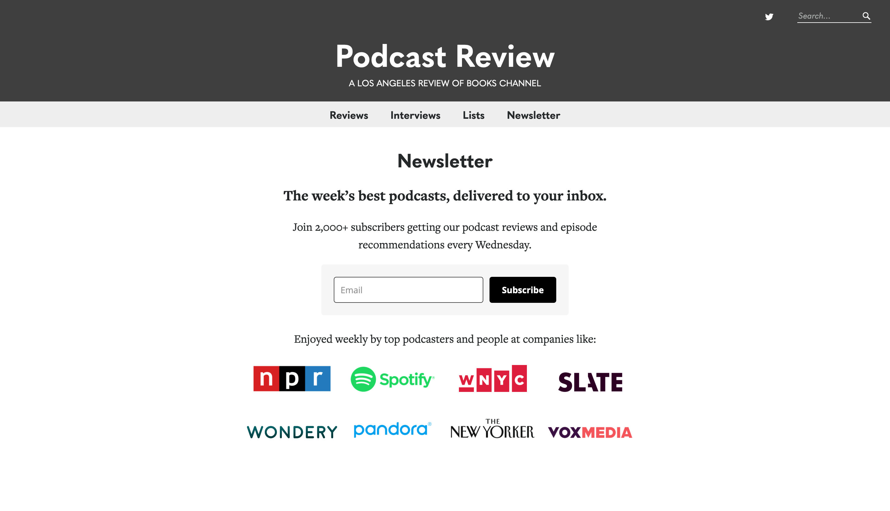 Podcast Review homepage
