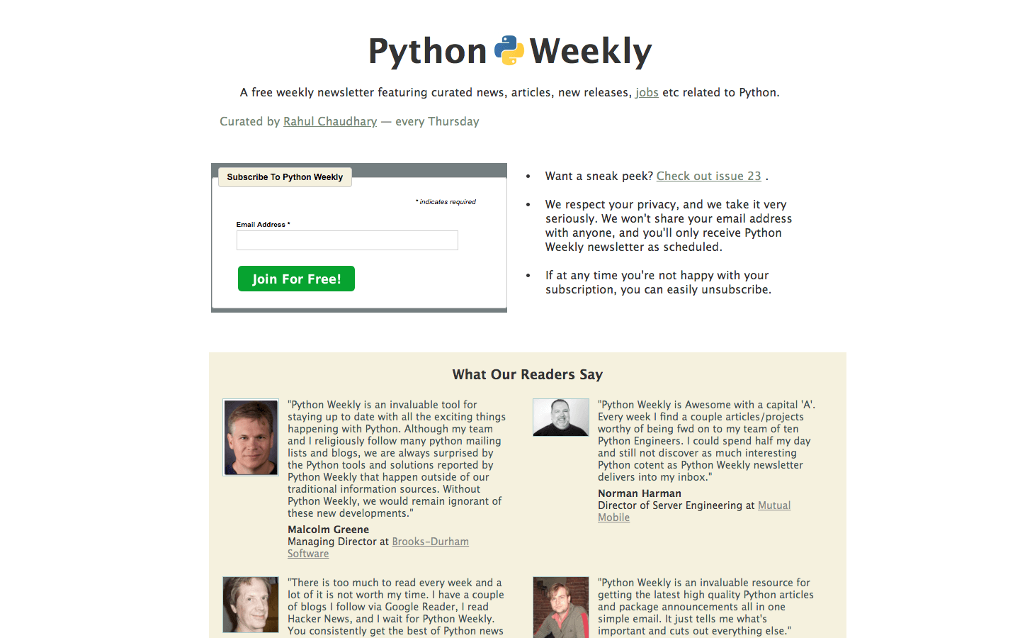 Python Weekly homepage