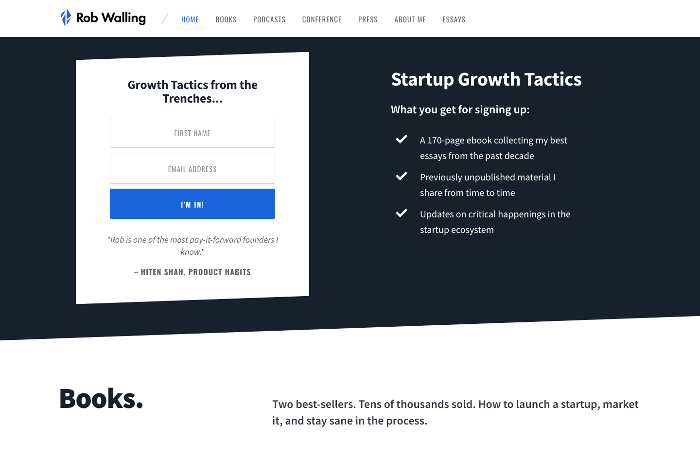 Startup Growth Tactics homepage