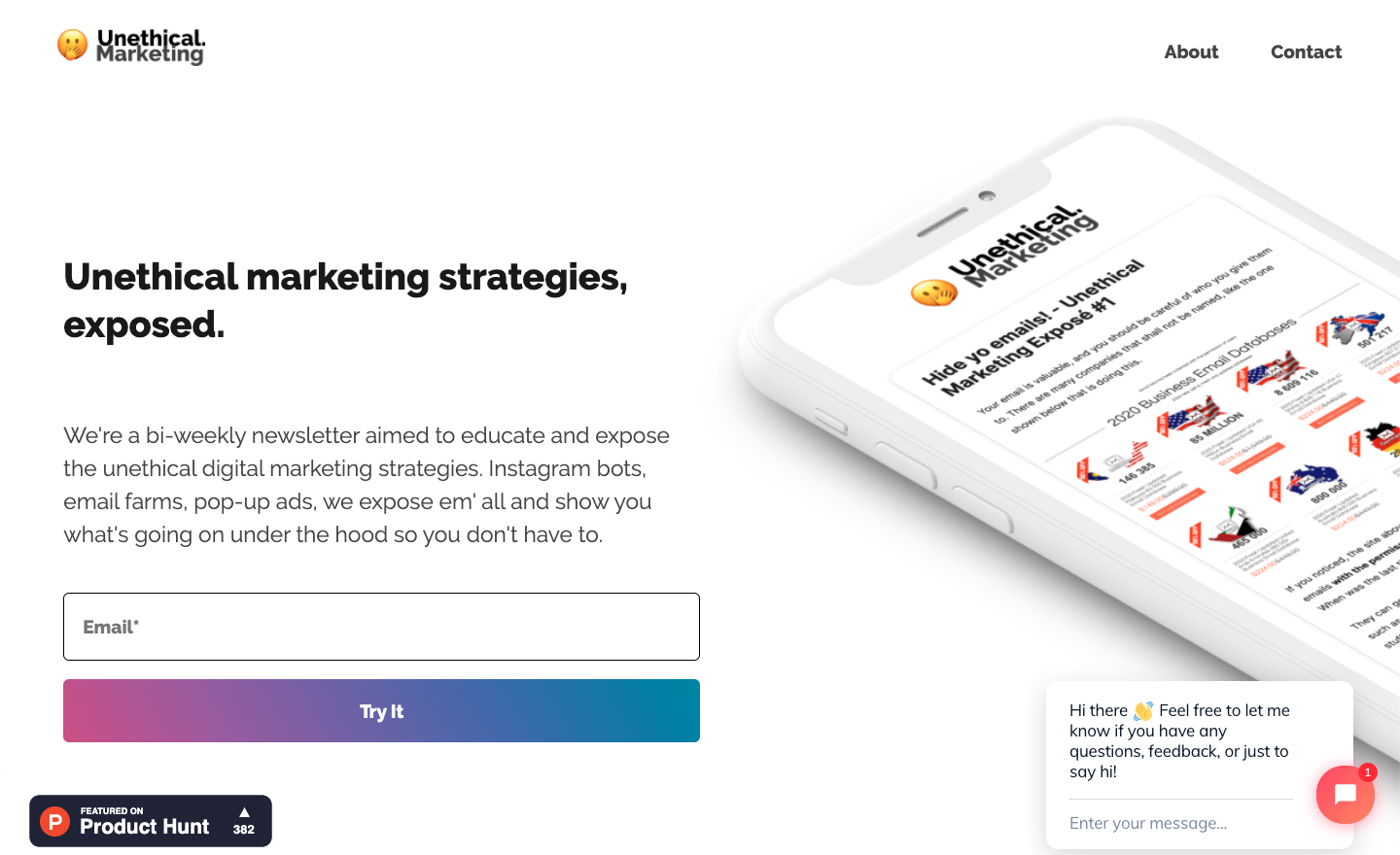 Unethical Marketing homepage