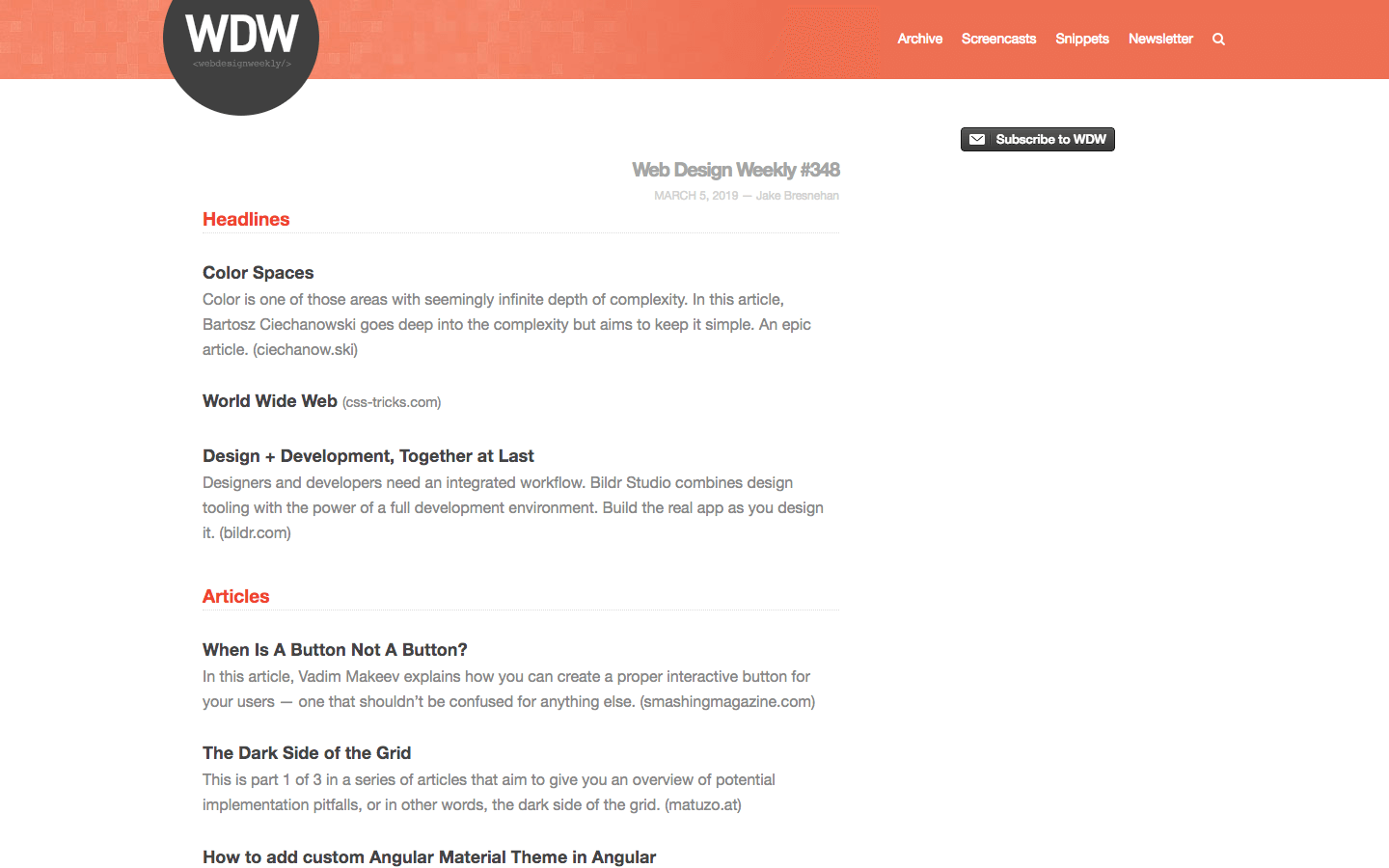 Web Design Weekly homepage